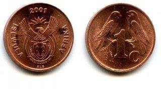 Монеты и банкноты №23 -  1 цент ЮАР