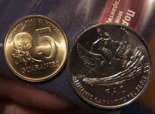 Монеты и Банкноты №44 – 5 гварани Парагрвай, 1 сентим Андорра