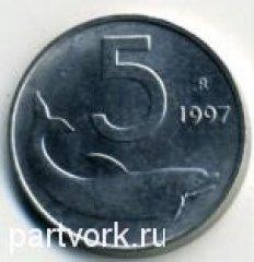 Монеты и Банкноты №48 –  5 лир Италия