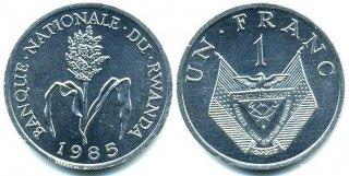 Монеты и банкноты №4 (1 франк Руанды, 1 пфенниг Германии, 1 тое Папуа-Новой Гвинеи)