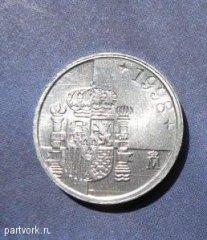 Монеты и банкноты №20 1 песета (Испания)